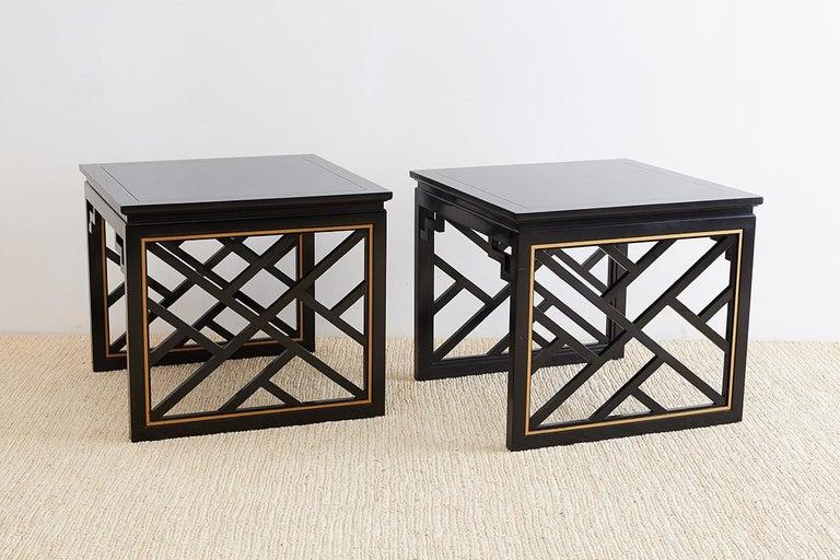 American Carleton Varney for Kindel Lacquered Trellis Tables For Sale