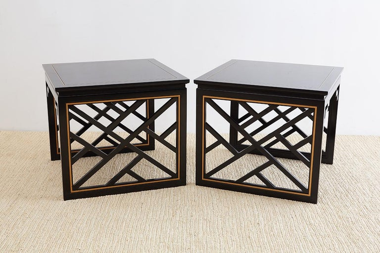 Carleton Varney for Kindel Lacquered Trellis Tables In Good Condition For Sale In Oakland, CA
