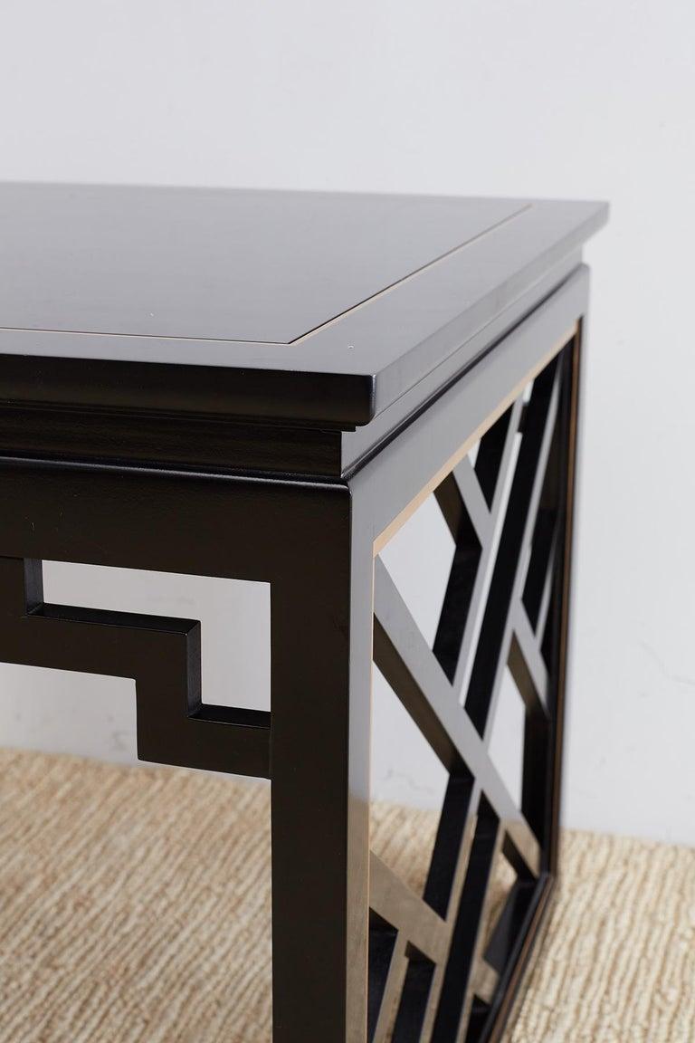 Carleton Varney for Kindel Lacquered Trellis Tables For Sale 1