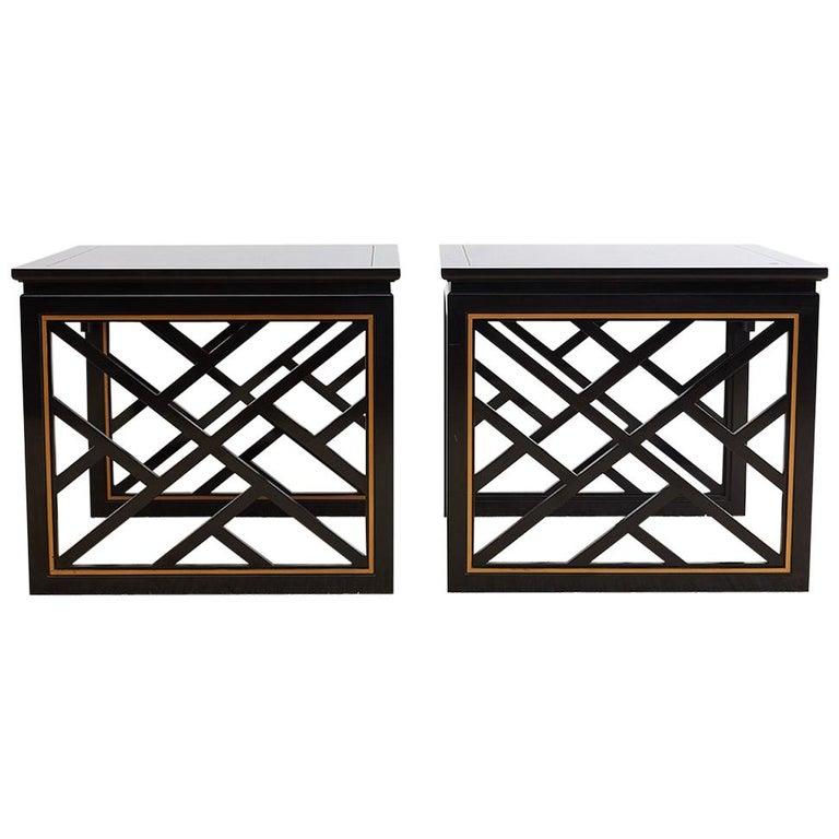 Carleton Varney for Kindel Lacquered Trellis Tables For Sale