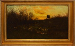 Antique American Tonalist Sunset Sheep Landscape Oil Painting,  Carleton Wiggins