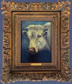 Oil Portrait on Wood of a Cow by Carleton Wiggins (American, 1848-1932)