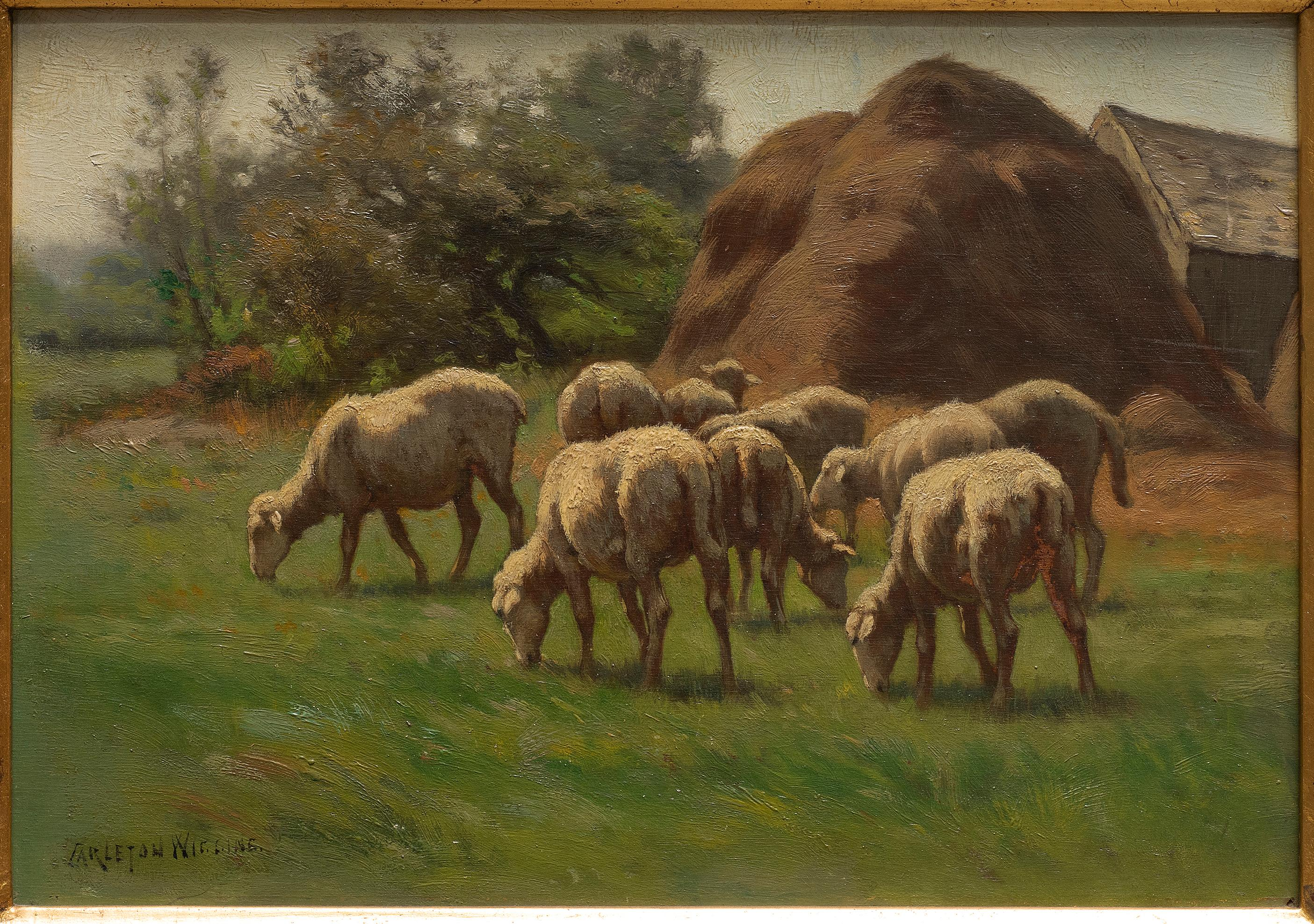 Sheep Grazing in Landscape with Hay Bales by Carleton Wiggins, 19th century