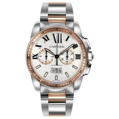 Carlibre de Cartier Pre-Owned Stainless Steel and 18 Karat Rose Gold W7100042