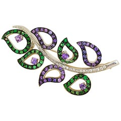 Carlo Barberis 18 Karat WG, Diamond, Lavender Sapphire and Tsavorite Leaf Brooch