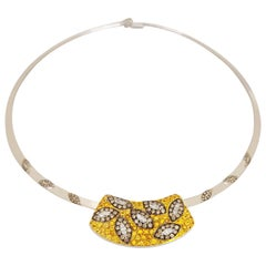 Carlo Barberis 18KT White Gold Yellow Sapphires, Brown & White Diamond Necklace