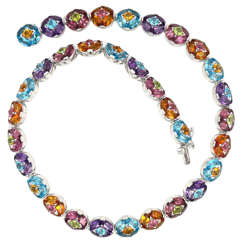Carlo Barberis For Cellini Jewelers 18KT WG Semi-Precious 14.79Ct. Necklace
