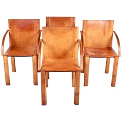 Carlo Bartoli, 4 'Carol' Leather Armchairs by Matteograssi, Italy, 1980