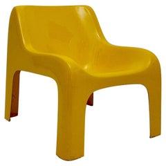 Carlo Bartoli Gaia Yellow Vintage Fiberglass Lounge Chair, 1967, Italy