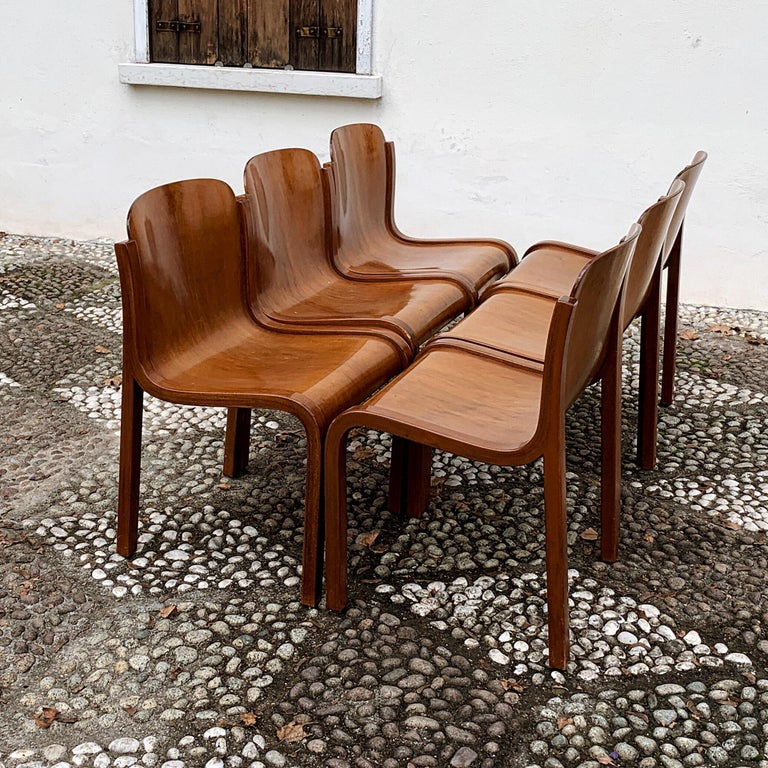 """Carlo Bartoli Midcentury Plywood Dining Chairs """"Mito"""" for T70, 1969, Set of 6 10"""