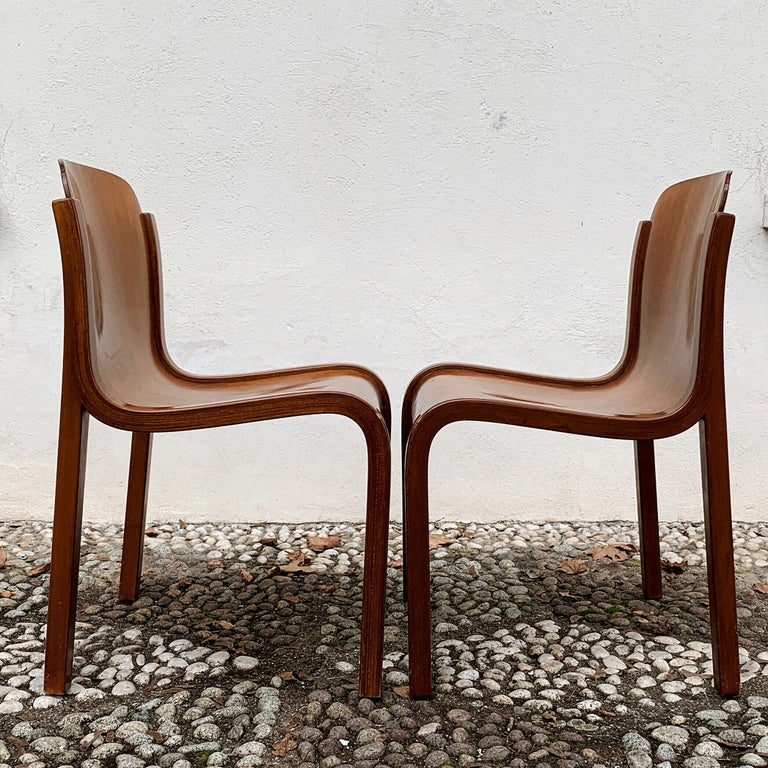 """Carlo Bartoli Midcentury Plywood Dining Chairs """"Mito"""" for T70, 1969, Set of 6 14"""