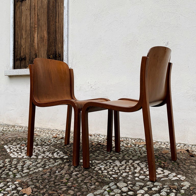 """Carlo Bartoli Midcentury Plywood Dining Chairs """"Mito"""" for T70, 1969, Set of 6 15"""