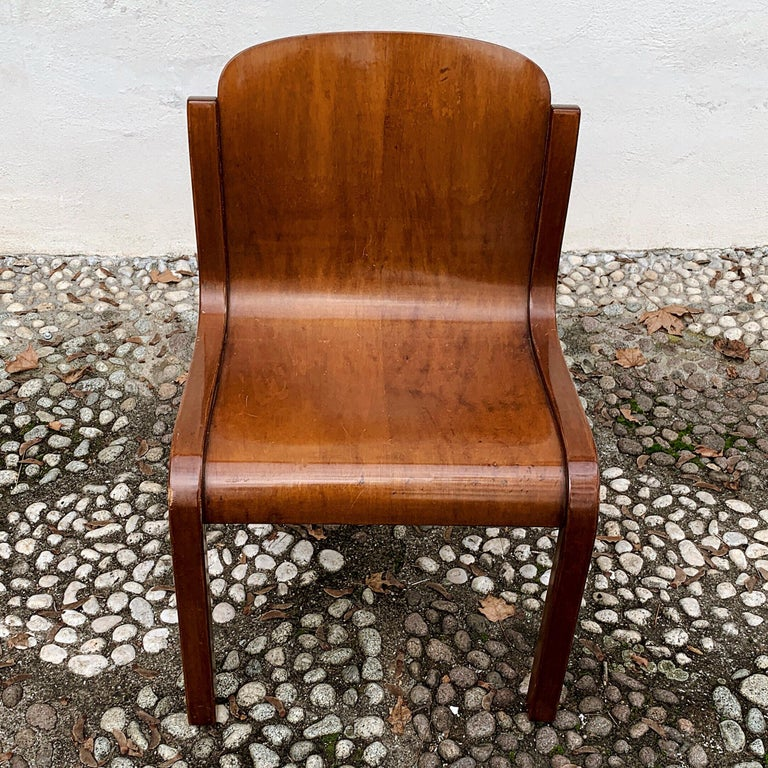 """Carlo Bartoli Midcentury Plywood Dining Chairs """"Mito"""" for T70, 1969, Set of 6 16"""