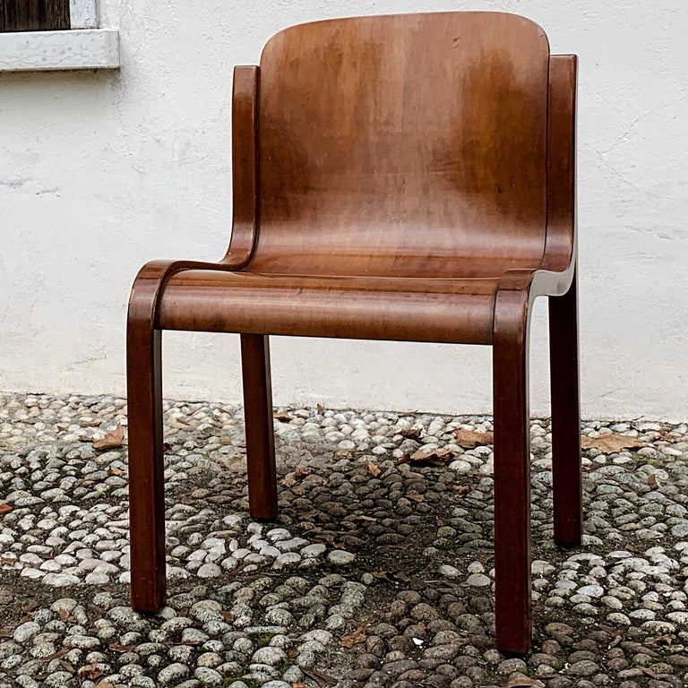 """Carlo Bartoli Midcentury Plywood Dining Chairs """"Mito"""" for T70, 1969, Set of 6 17"""
