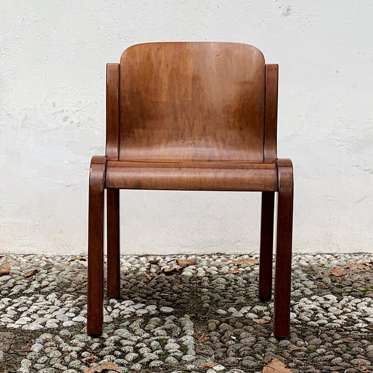 """Carlo Bartoli Midcentury Plywood Dining Chairs """"Mito"""" for T70, 1969, Set of 6 18"""
