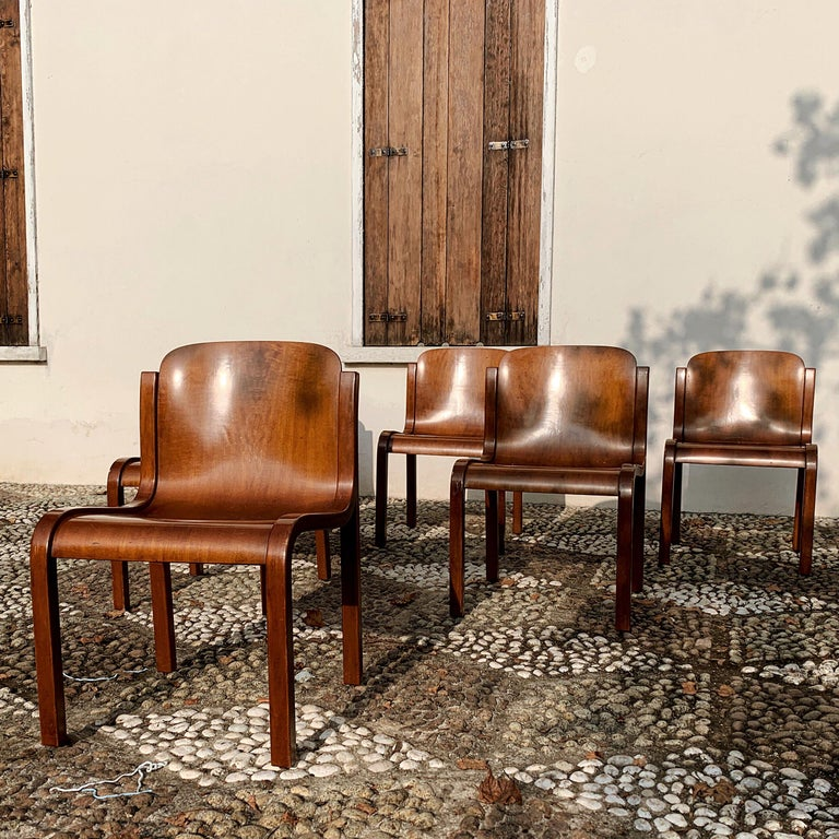 """Carlo Bartoli Midcentury Plywood Dining Chairs """"Mito"""" for T70, 1969, Set of 6 3"""
