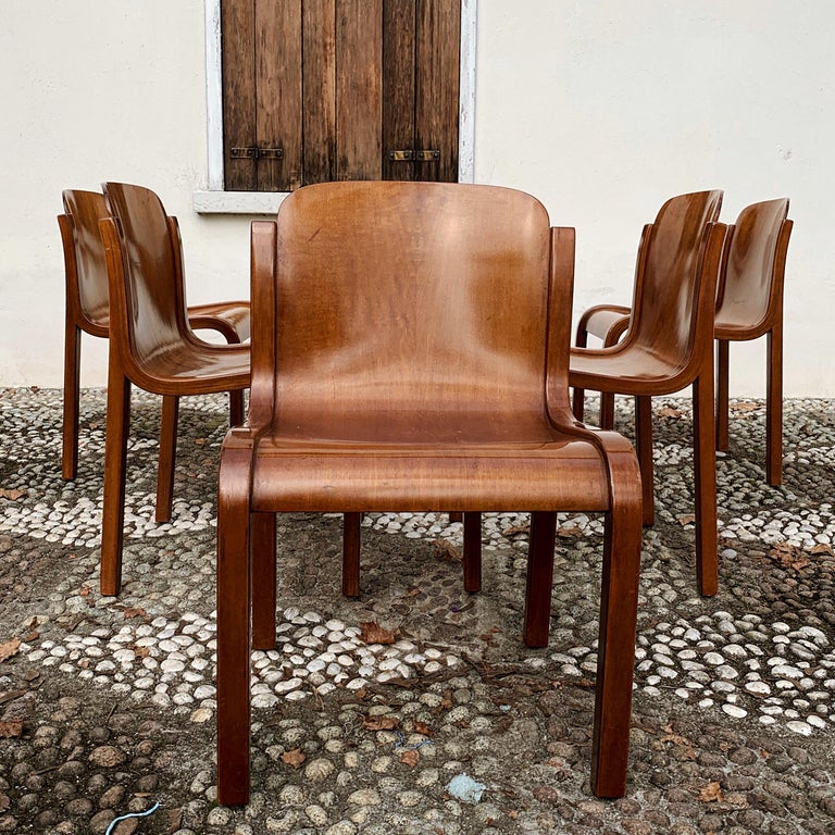 """Carlo Bartoli Midcentury Plywood Dining Chairs """"Mito"""" for T70, 1969, Set of 6 4"""