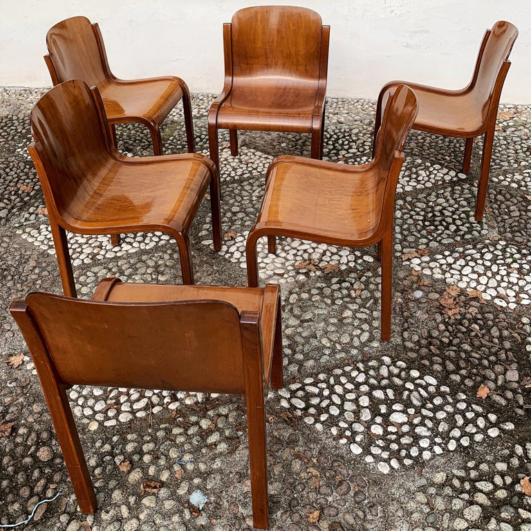 """Carlo Bartoli Midcentury Plywood Dining Chairs """"Mito"""" for T70, 1969, Set of 6 5"""