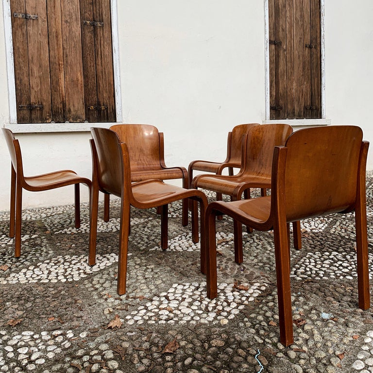 """Carlo Bartoli Midcentury Plywood Dining Chairs """"Mito"""" for T70, 1969, Set of 6 6"""