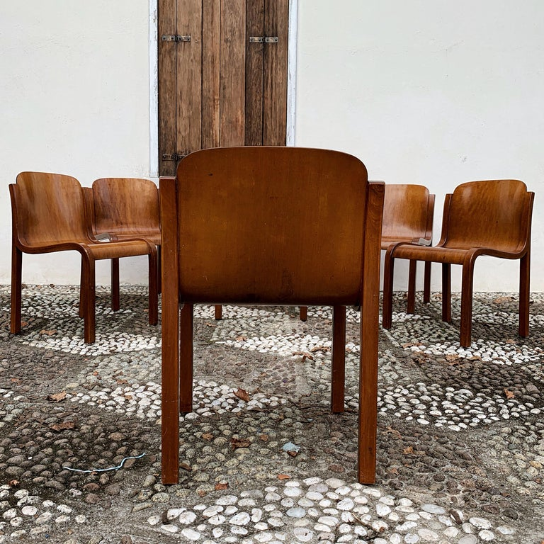 """Carlo Bartoli Midcentury Plywood Dining Chairs """"Mito"""" for T70, 1969, Set of 6 7"""