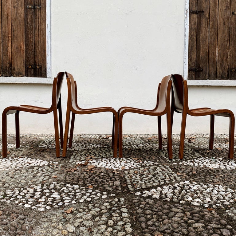 """Carlo Bartoli Midcentury Plywood Dining Chairs """"Mito"""" for T70, 1969, Set of 6 8"""