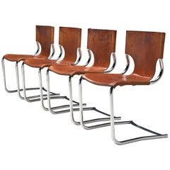Carlo Bartoli Set of Four Tubular Dining Chairs in Cognac Leather