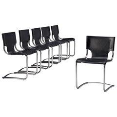 Carlo Bartoli Set of Six Tubular Dining Chairs