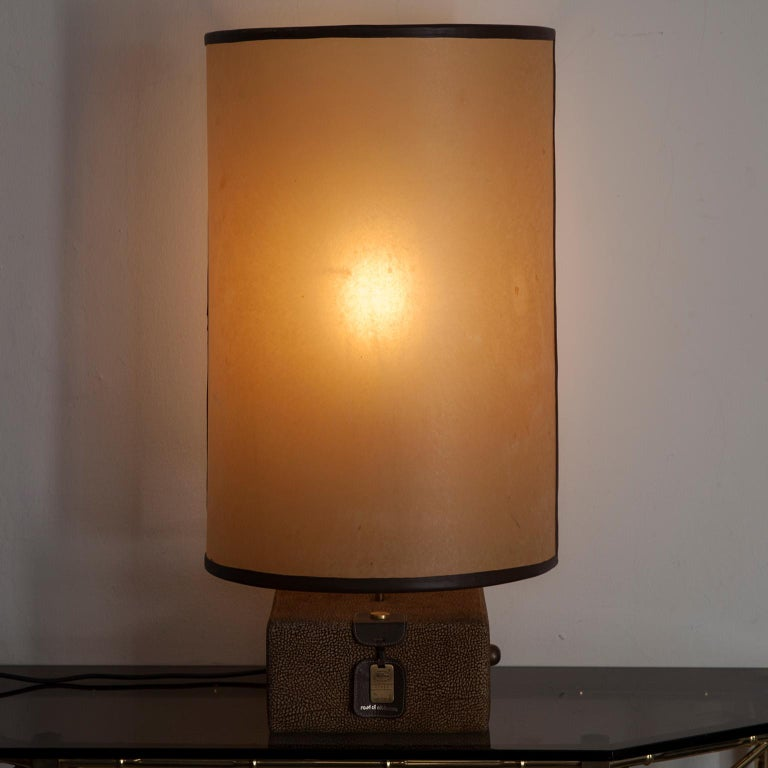 Carlo Bartoli Suede Leather Table Lamp by Borbonese, Italy, 1980 For Sale 4