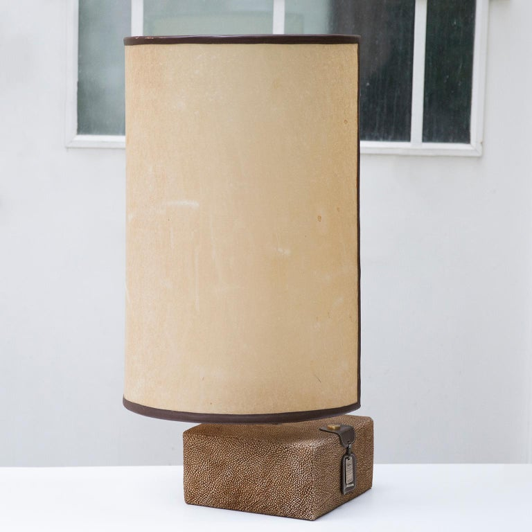 Hollywood Regency Carlo Bartoli Suede Leather Table Lamp by Borbonese, Italy, 1980 For Sale
