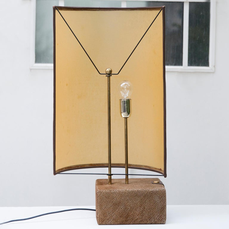 Italian Carlo Bartoli Suede Leather Table Lamp by Borbonese, Italy, 1980 For Sale