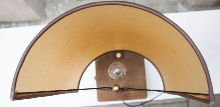 1980s Carlo Bartoli Suede Leather Table Lamp by Borbonese, Italy, 1980 For Sale