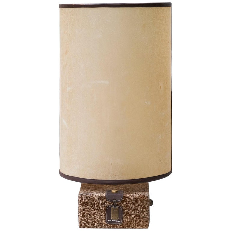 Carlo Bartoli Suede Leather Table Lamp by Borbonese, Italy, 1980 For Sale