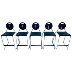 "Carlo Bimbi and Nilo Gioacchini ""Charlie"" Barstools for Segis Italia, Set of 5"