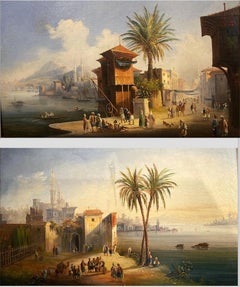 Exceptional Pair of Turkish Landscape Paintings inscribed Costantinopoli Scutari