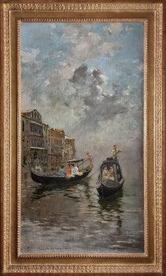 Gondolieri at Venize, oil on canvas by Carlo Brancaccio