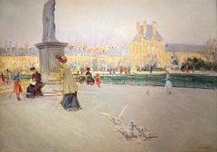 'Tuileries Gardens, Paris' 19th century Parisian figurative scene with buildings