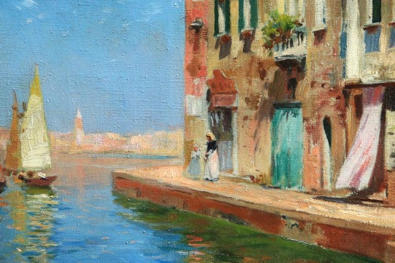 Venice - Impressionist Oil, Boats in Summer Seascape by Carlo Brancaccio For Sale 9