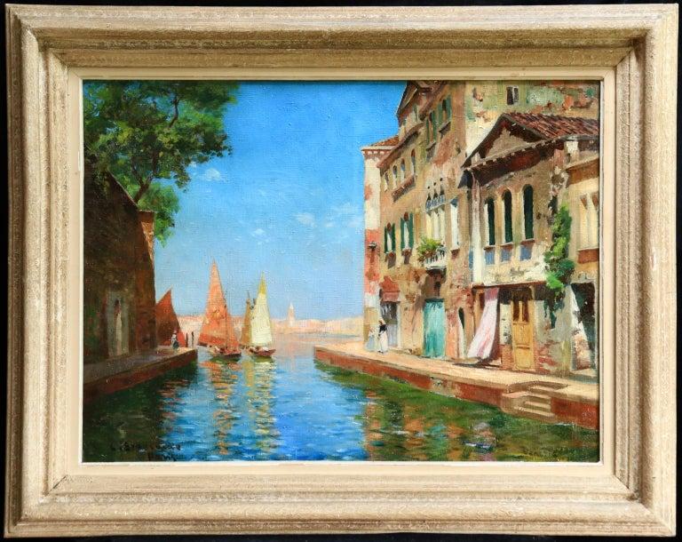 Venice - Impressionist Oil, Boats in Summer Seascape by Carlo Brancaccio For Sale 1