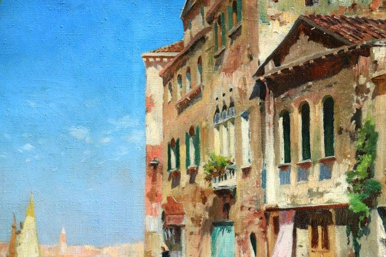 Venice - Impressionist Oil, Boats in Summer Seascape by Carlo Brancaccio For Sale 2