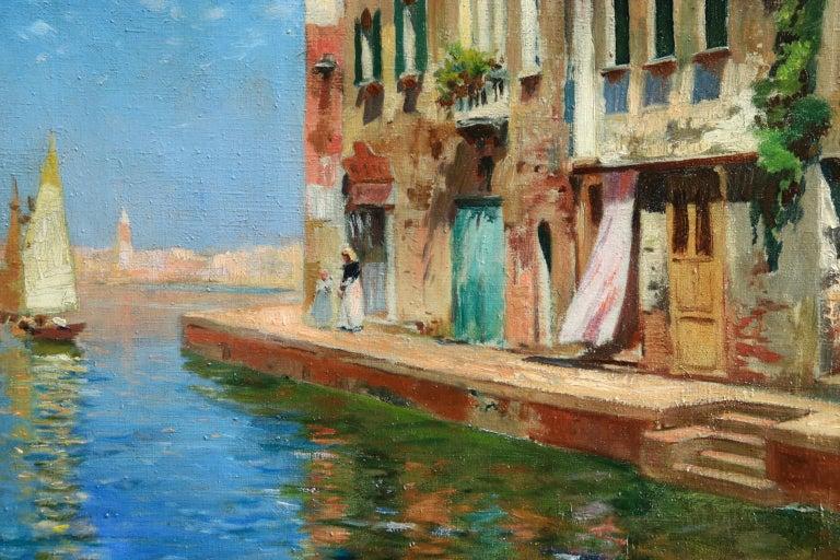 Venice - Impressionist Oil, Boats in Summer Seascape by Carlo Brancaccio For Sale 3