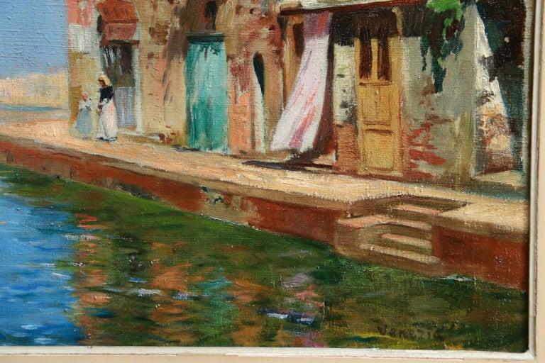 Venice - Impressionist Oil, Boats in Summer Seascape by Carlo Brancaccio For Sale 4
