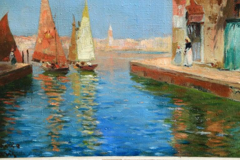 Venice - Impressionist Oil, Boats in Summer Seascape by Carlo Brancaccio For Sale 5