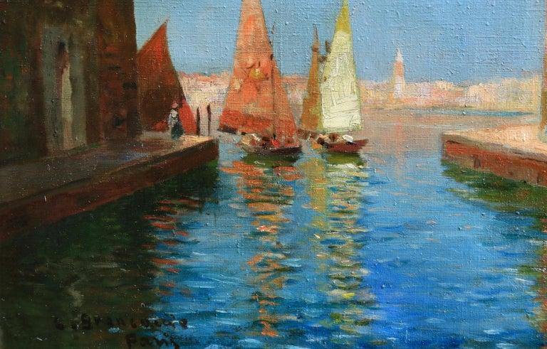 Venice - Impressionist Oil, Boats in Summer Seascape by Carlo Brancaccio For Sale 6