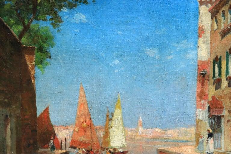 Venice - Impressionist Oil, Boats in Summer Seascape by Carlo Brancaccio For Sale 7