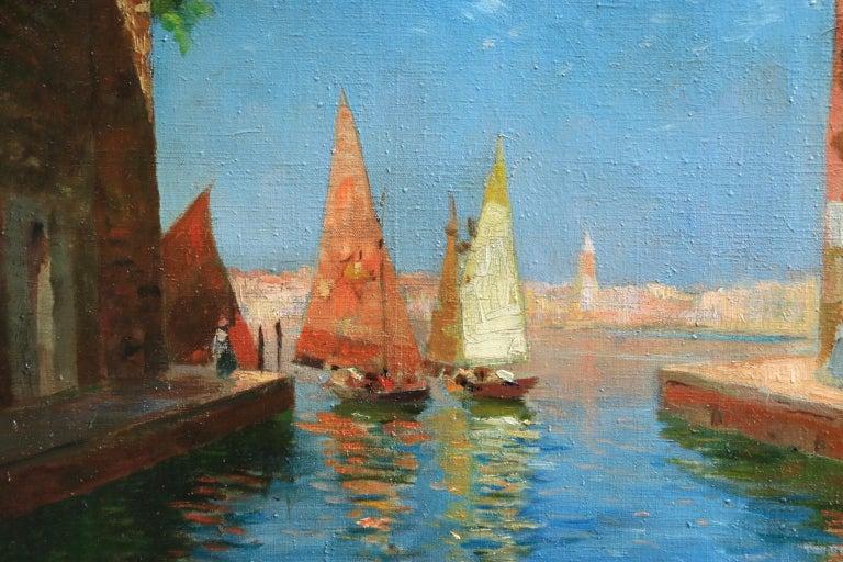 Venice - Impressionist Oil, Boats in Summer Seascape by Carlo Brancaccio For Sale 8