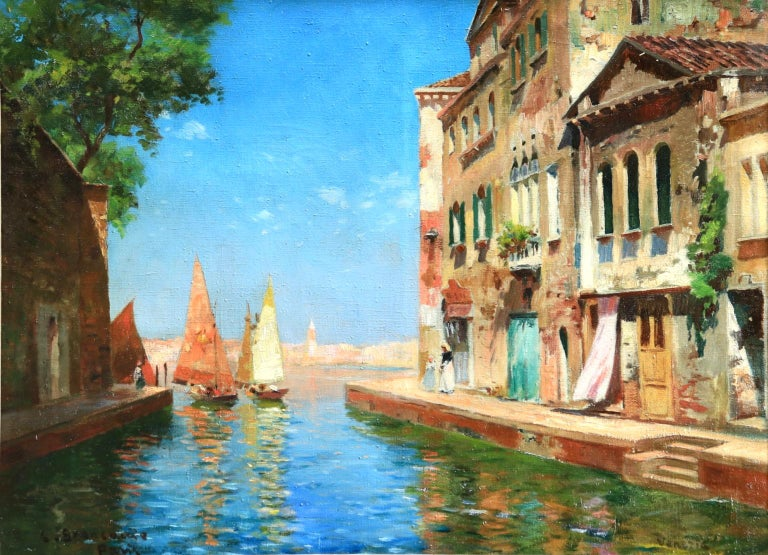 A wonderful oil on canvas by Italian impressionist painter Carlo Brancaccio depicting sail boats sailing out from the Venetian canal to the sea. Signed lower left & inscribed Paris and titled lower right 'Venezia'.   Dimensions: Framed:
