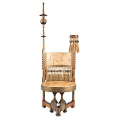 Carlo Bugatti Circular Seated Walnut Throne Chair