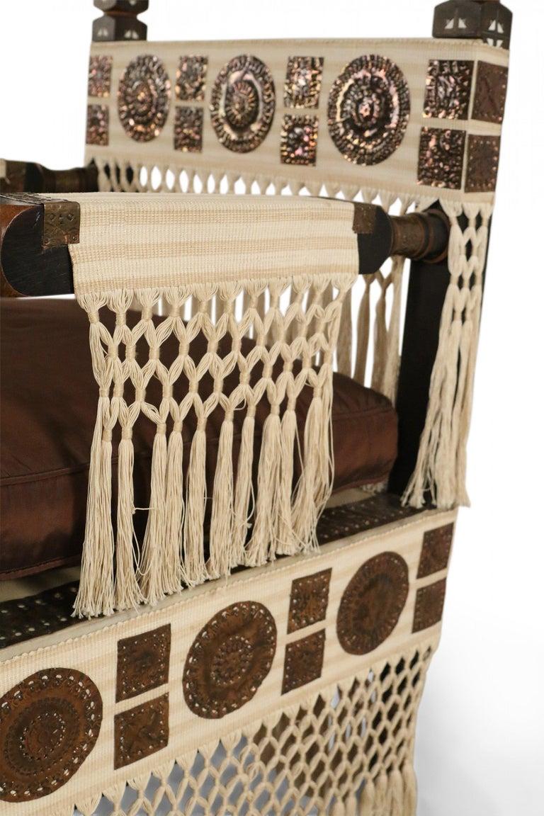 Carlo Bugatti Italian Art Deco Mahogany and Copper Fringed Throne Chair For Sale 5