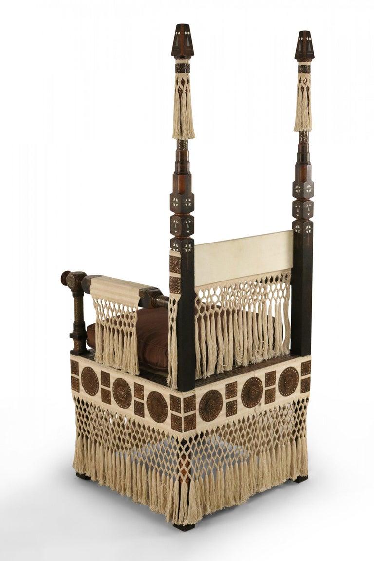 Carlo Bugatti Italian Art Deco Mahogany and Copper Fringed Throne Chair In Good Condition For Sale In New York, NY
