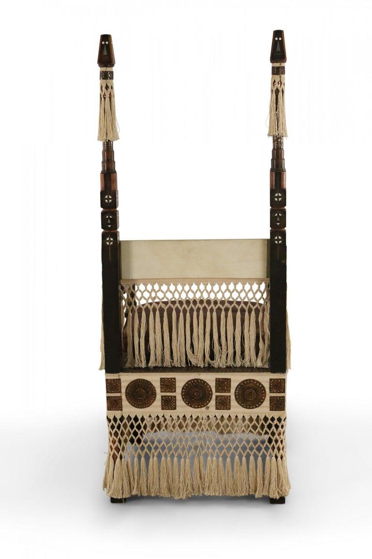 20th Century Carlo Bugatti Italian Art Deco Mahogany and Copper Fringed Throne Chair For Sale